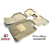 Текстильные 3D коврики Euromat3D Business в салон для Toyota Corolla (2013-2018) № EMC3D-005128T Бежевый