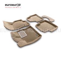 Текстильные 3D коврики Euromat3D Lux в салон для Skoda Superb (2015-) № EM3D-004510T Бежевые